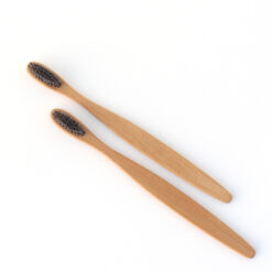 wooden toothbrush india, bamboo brush Curve Shaped with Charcoal Bristles